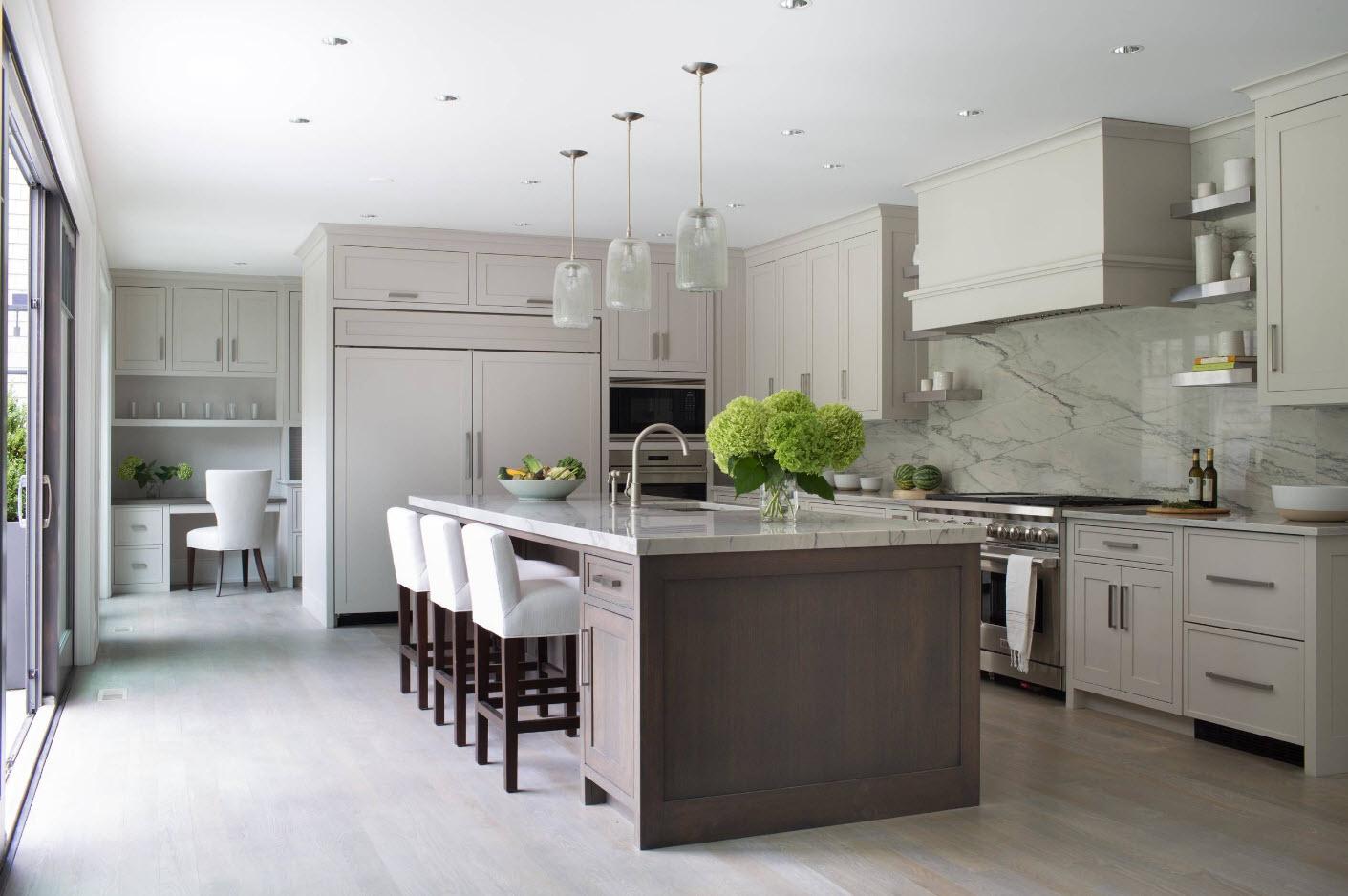 Кухонный дизайн в серых тонах