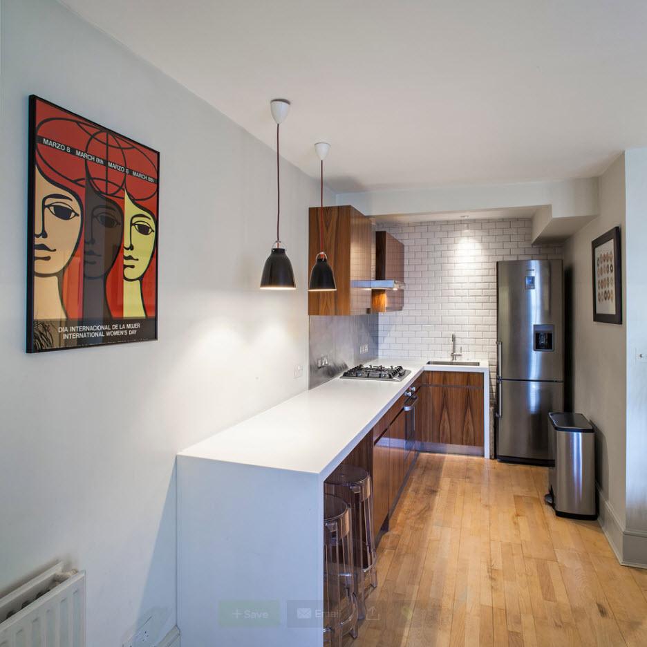 Угловой гарнитур для узкой кухни