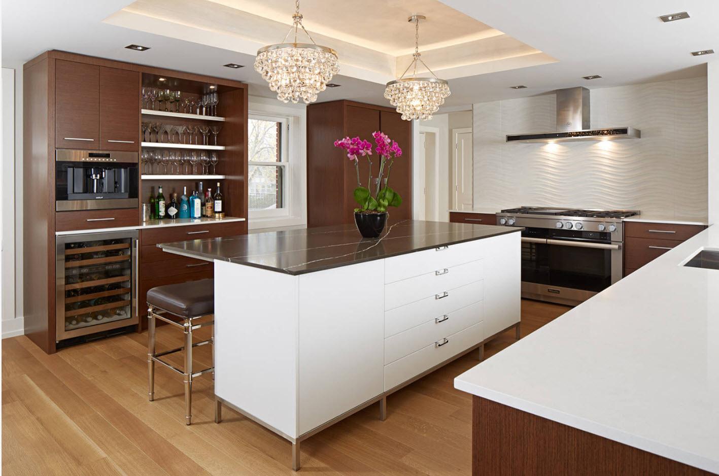 Коричнево-белый образ кухни