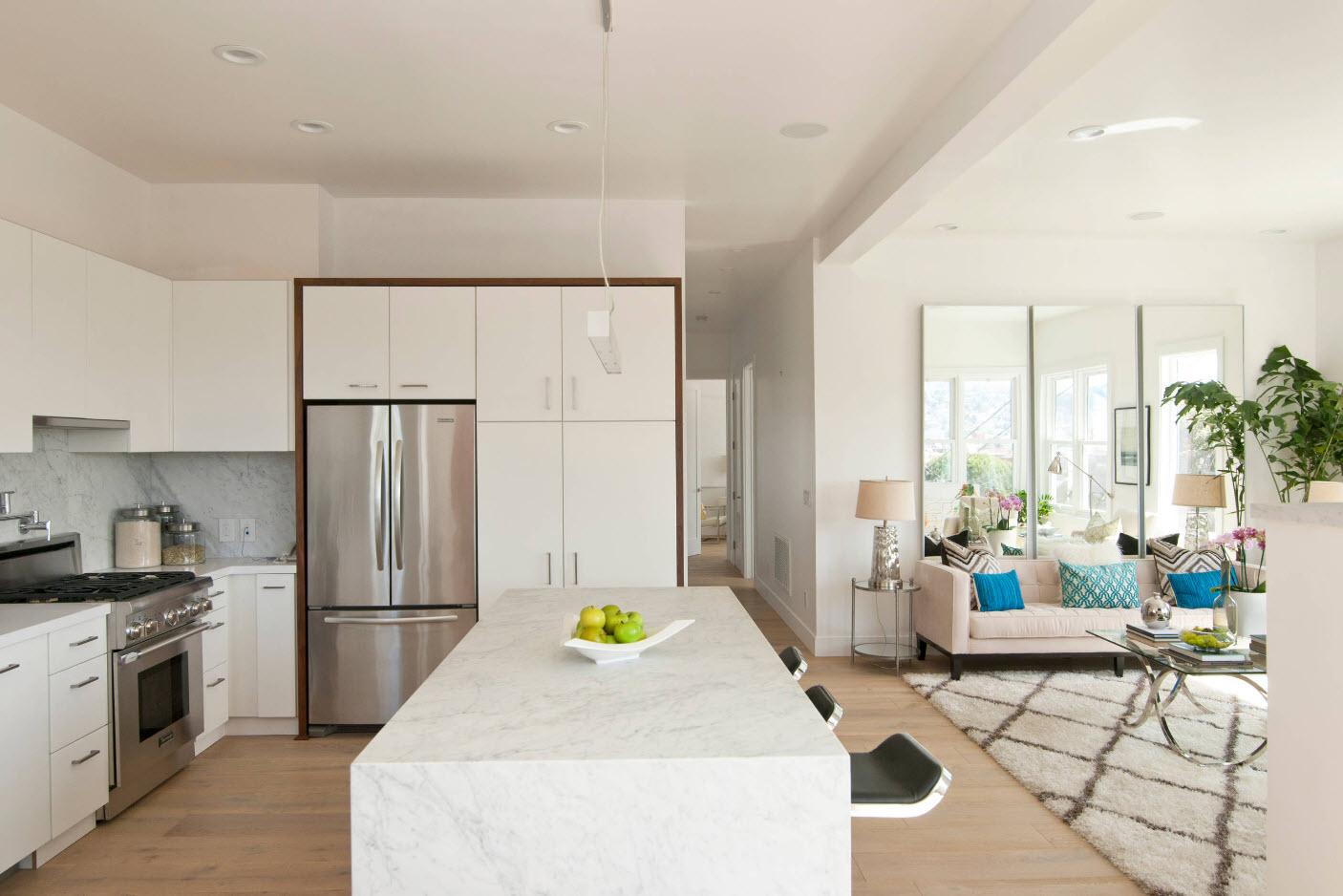 Картинки по запросу Образ современной гостиной и кухни