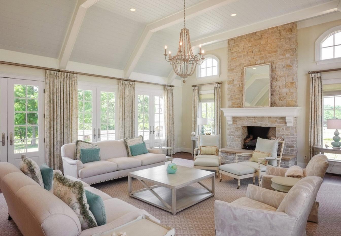 Светлый дизайн для просторной гостиной
