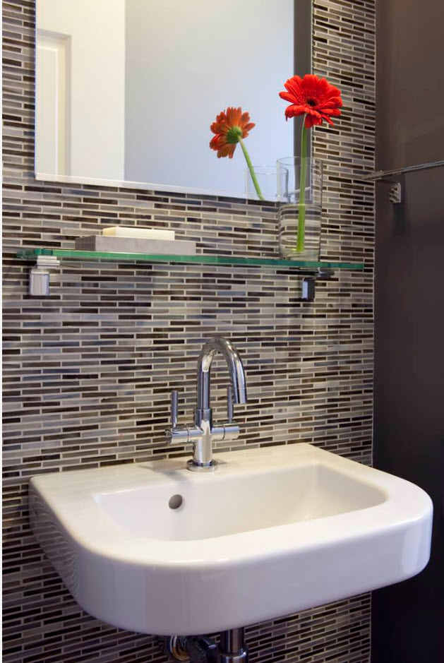 Glass tile backsplash bathroom