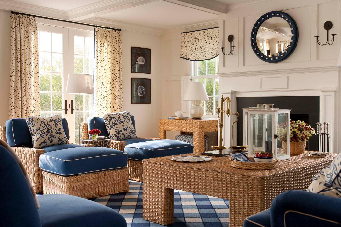 Для гостиной с плетеной мебелью