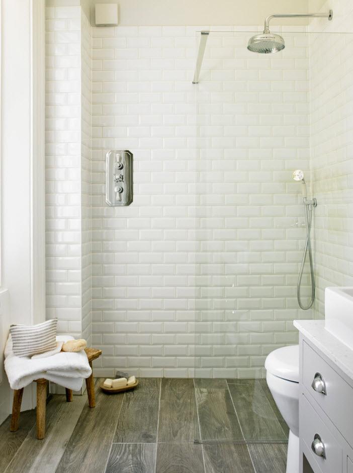 Белоснежная плитка для ванной