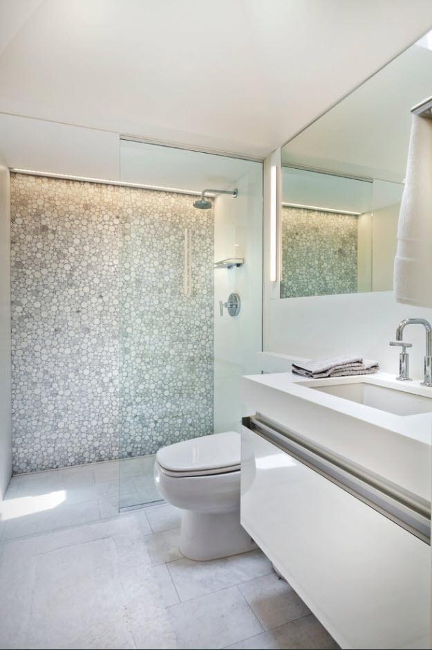 Белая ванная комната: дизайн с панно, кафелем и др 590
