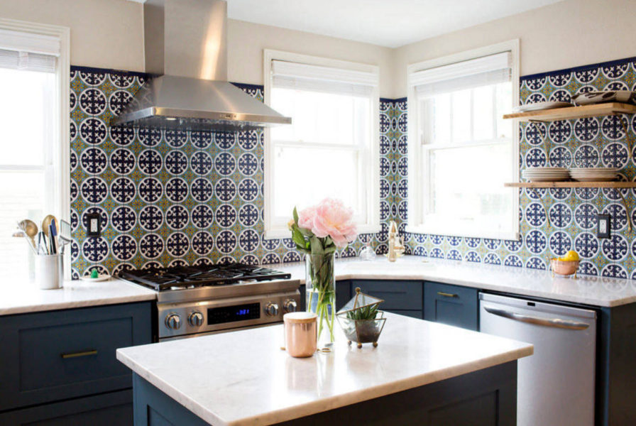 Hand painted tiles for kitchen backsplash