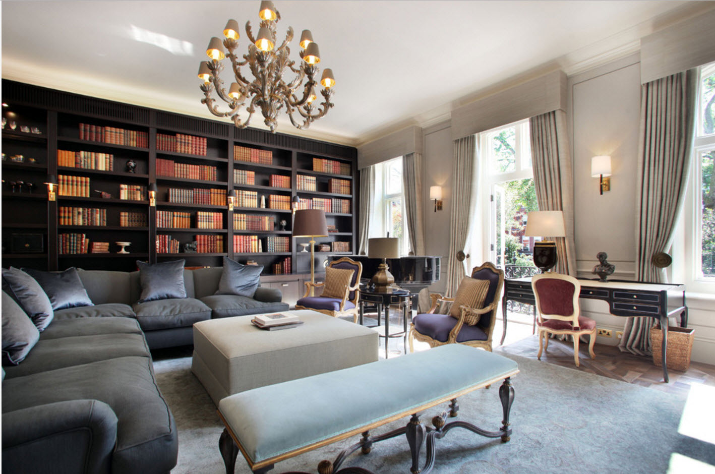 Шторы для гостиной-библиотеки