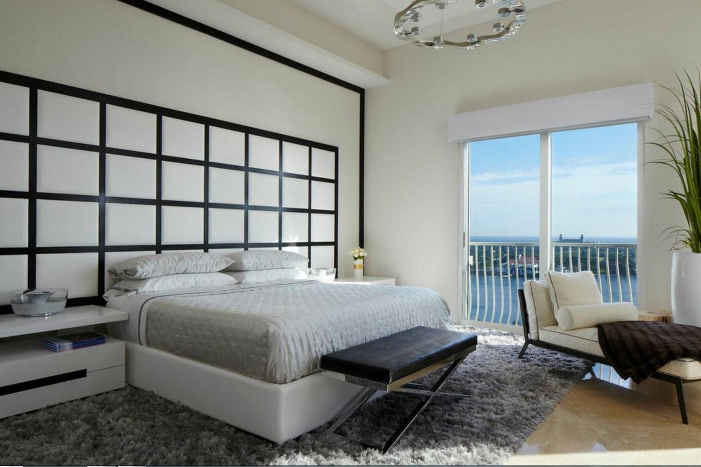 Белоснежная спальня с контрастом