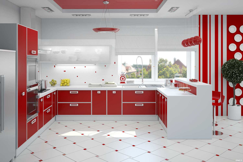 Кухня красная дизайн интерьер