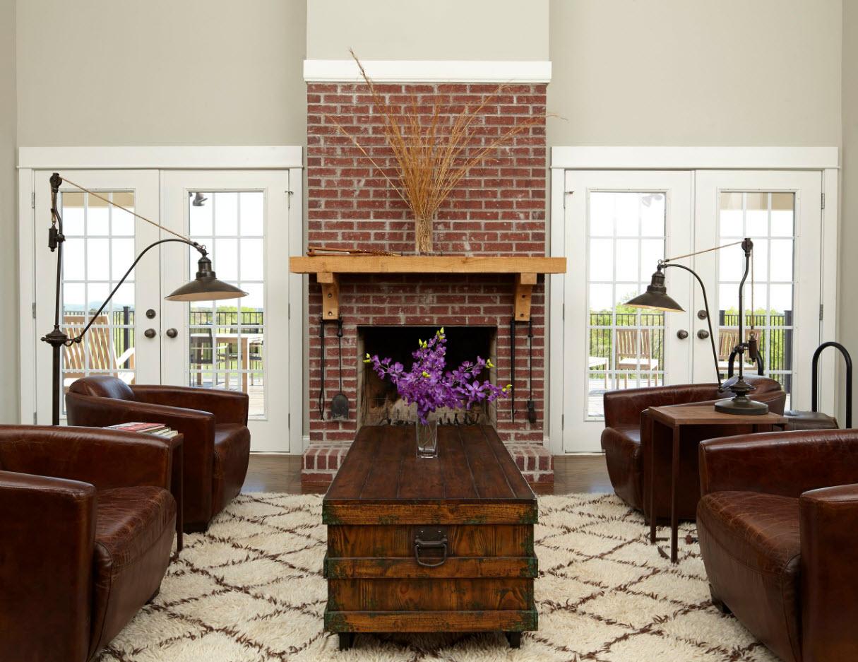 Гостиная с кожаными креслами