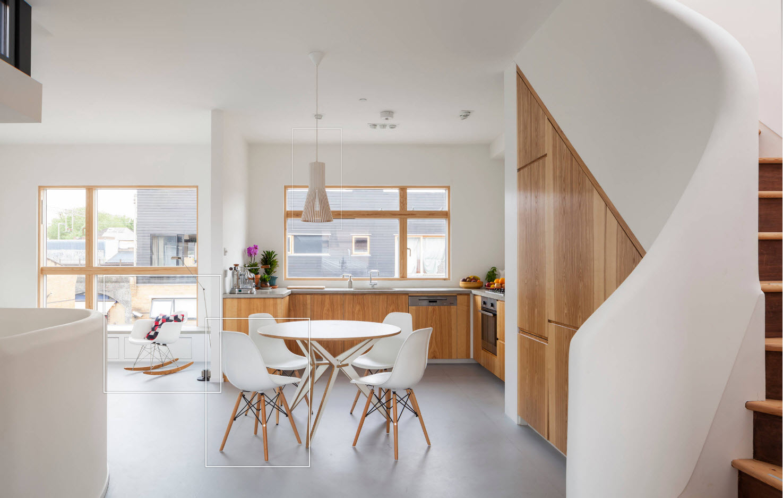 Светлый дизайн кухни-столовой