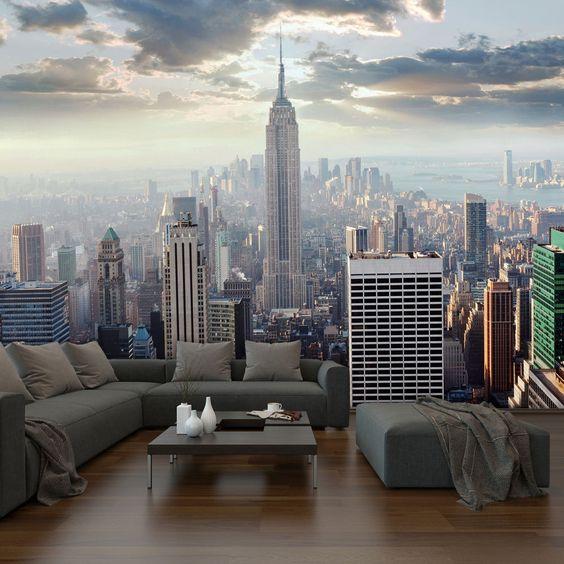 Городской пейзаж в дизайне гостиной