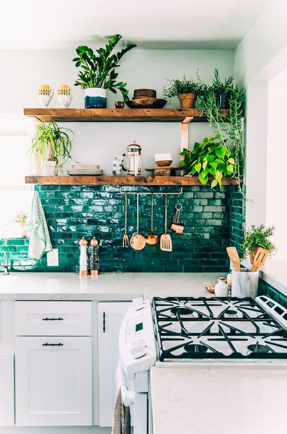 Зелень в кухонном помещении