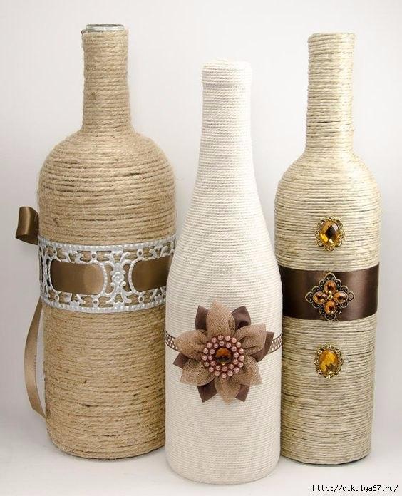 Декор бутылок нитками