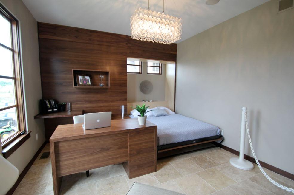 Лаконичный кабинет с кроватью