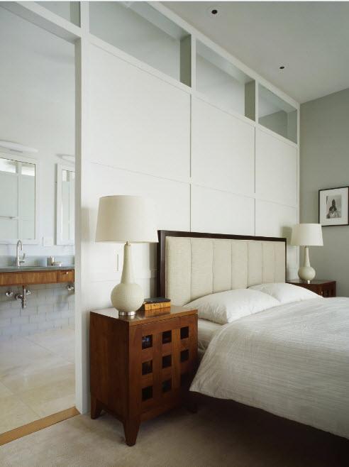 Зонирование спальни и ванной