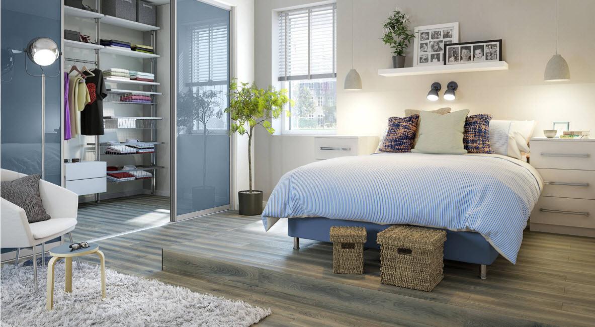Зонирование спальни и гардеробной