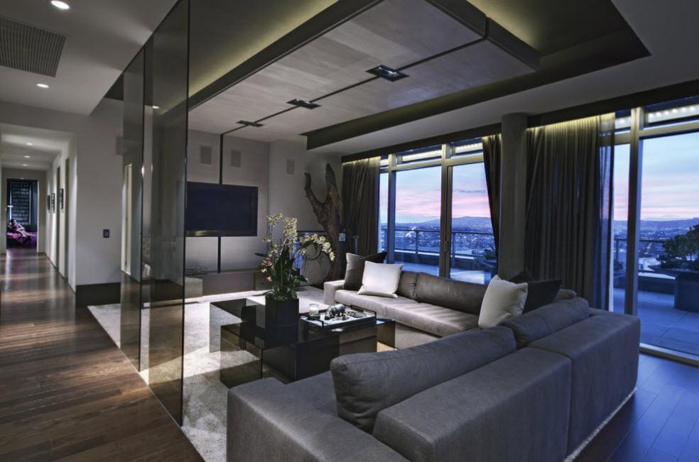 Дизайн потолка для современной гостиной