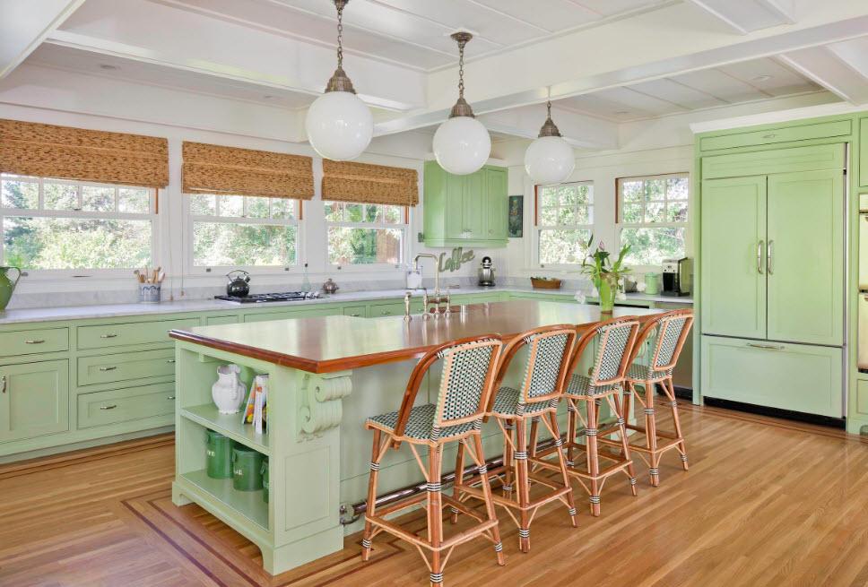 Светло-фисташковая кухня