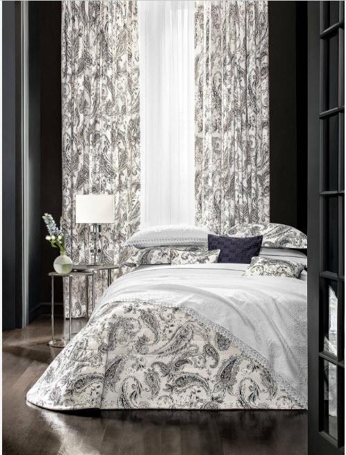 Черно-белый дизайн спальни