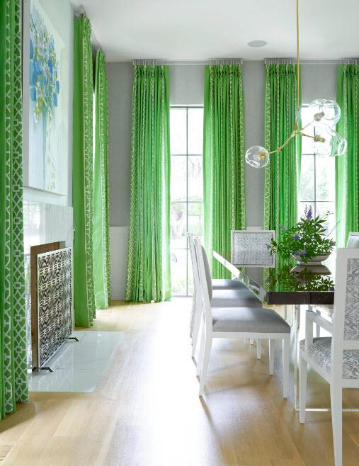 Ярко-зеленые шторы