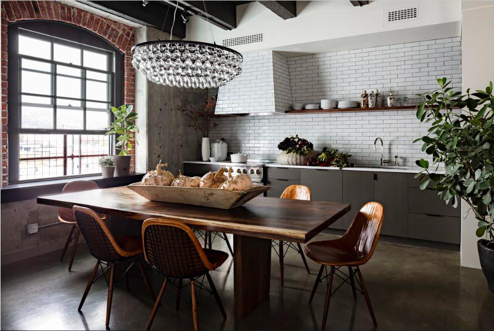 Кухня-столовая в стиле лофт