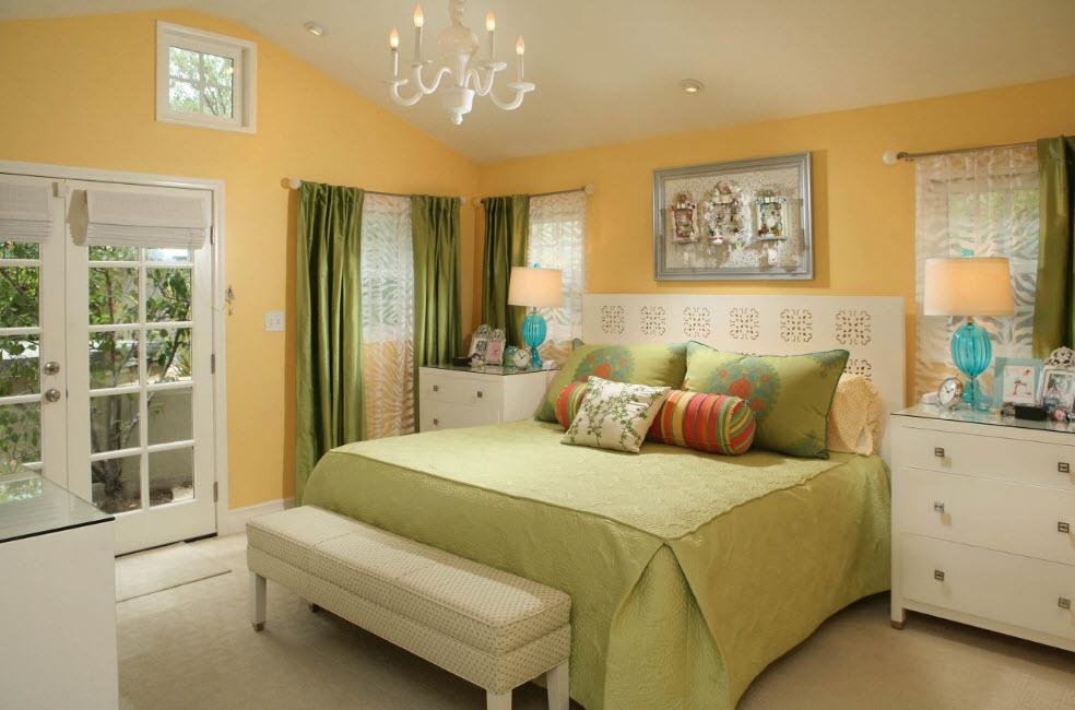 Оттенки зеленого для спальни