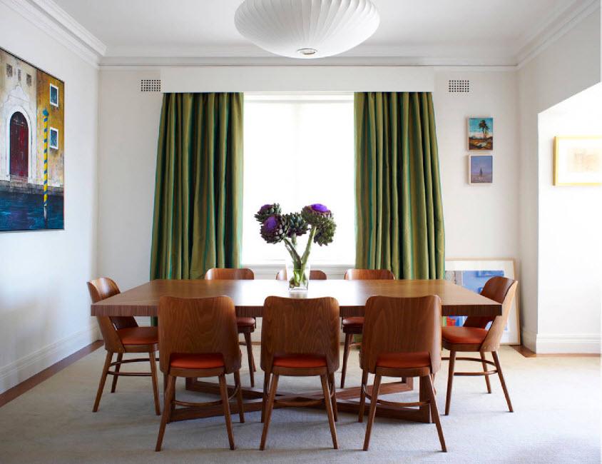 Зеленые шторы и белый ламбрекен