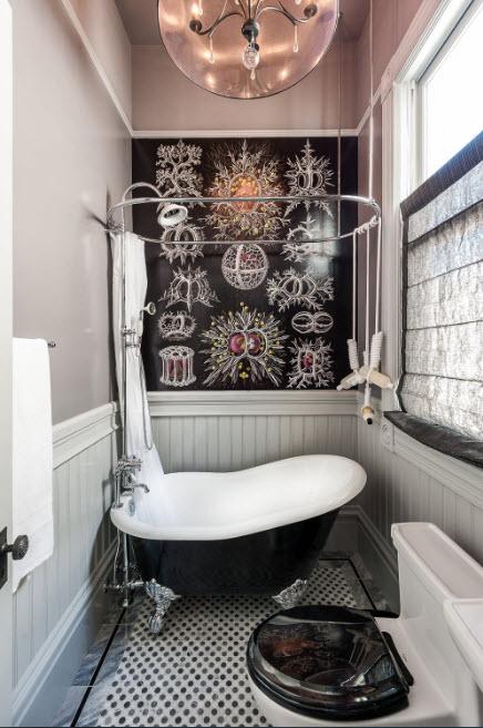 Оригинальный интерьер небольшой ванной