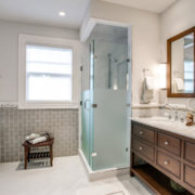 Стеклянные шторки для современной ванной комнаты