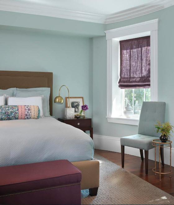 Мятный дизайн спальни