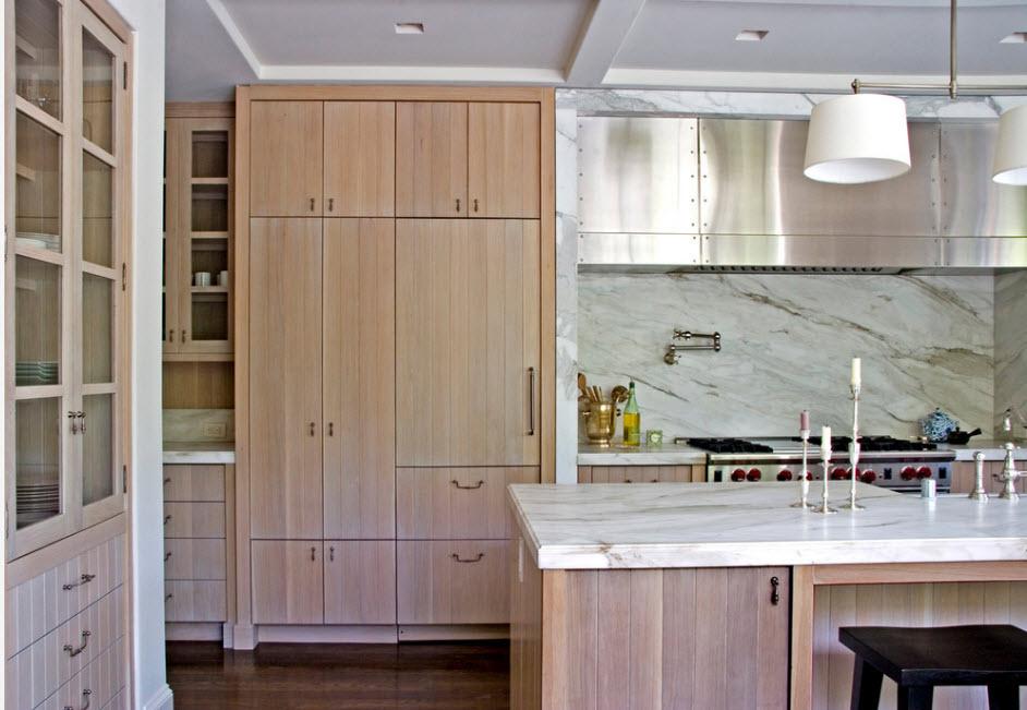 Кухонный гарнитур цвета беленый дуб