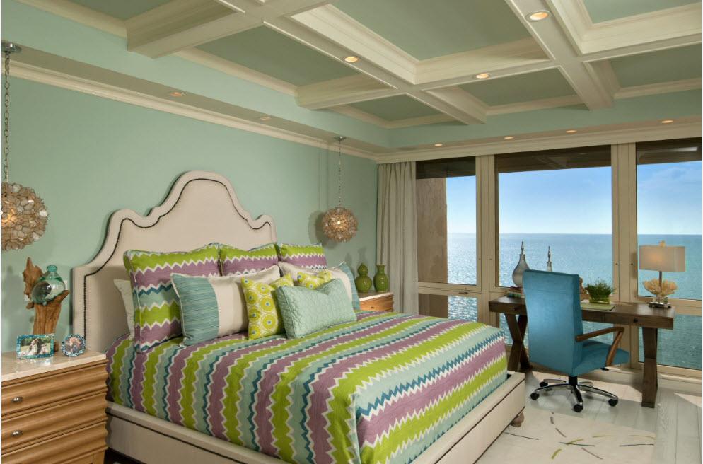 Белый и мятный для отделки спальни