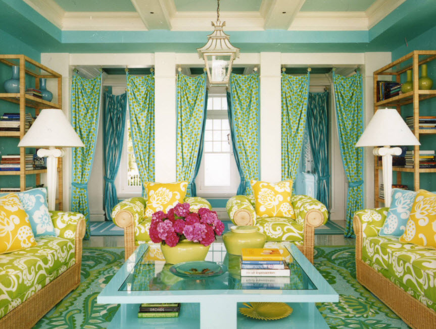 Яркий дизайн гостиной