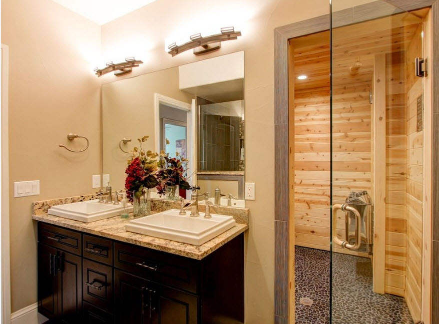 Интерьер ванной с парилкой