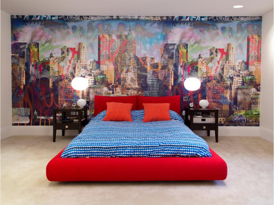 Настенная роспись в спальне