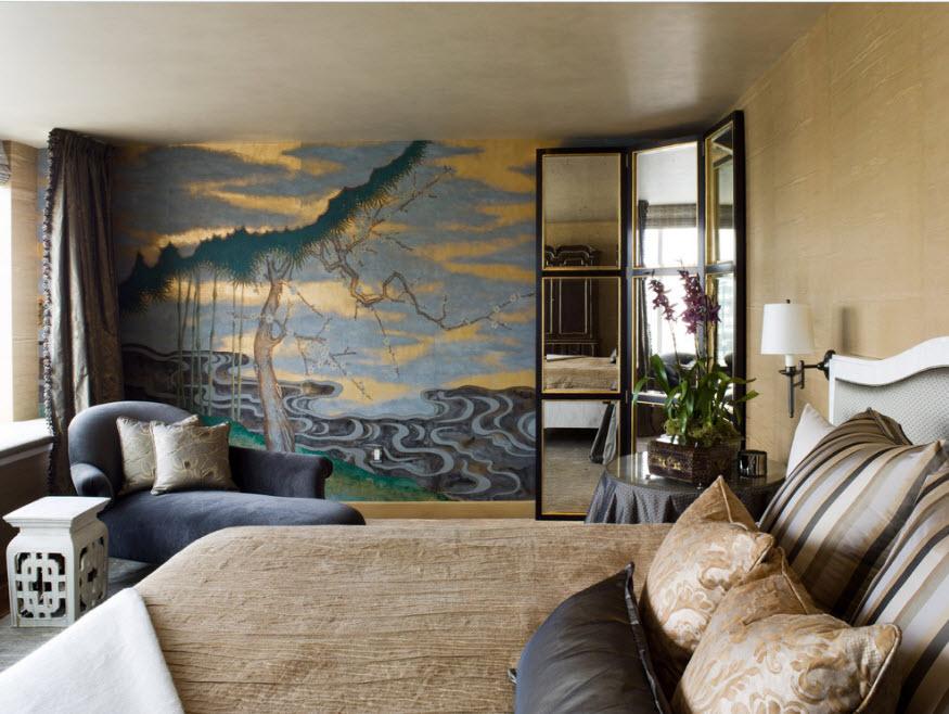 Дизайн спальни с росписью