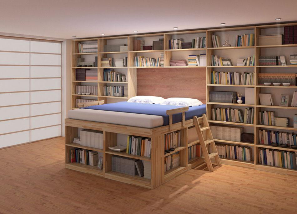 Дизайн спальни-библиотеки