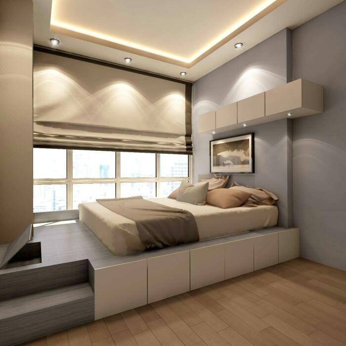 Кровать-подиум в современном интерьере
