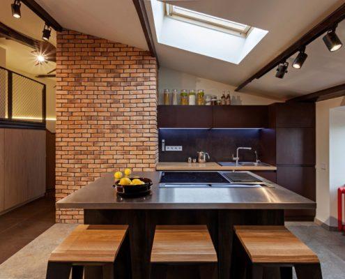 отделка современной квартиры декоративным камнем