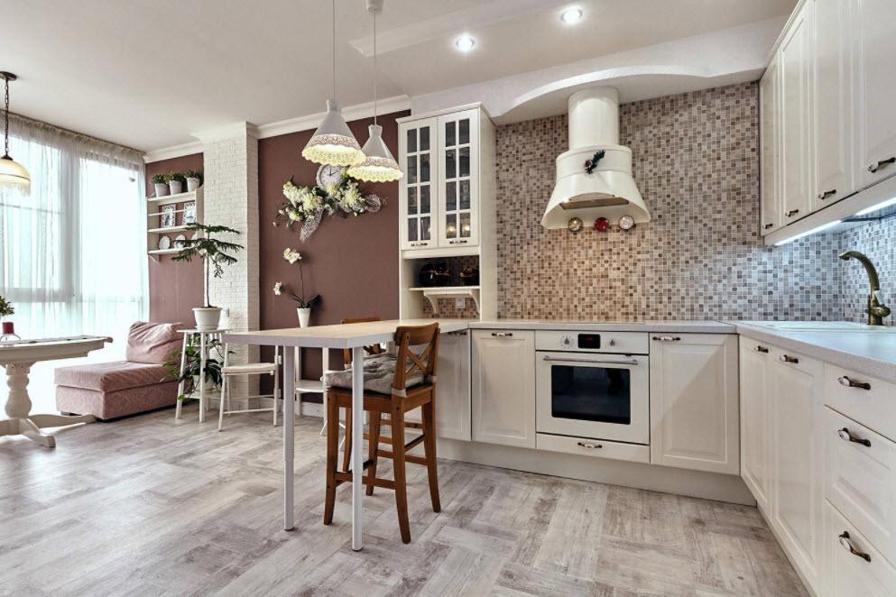 белая кухня-студия