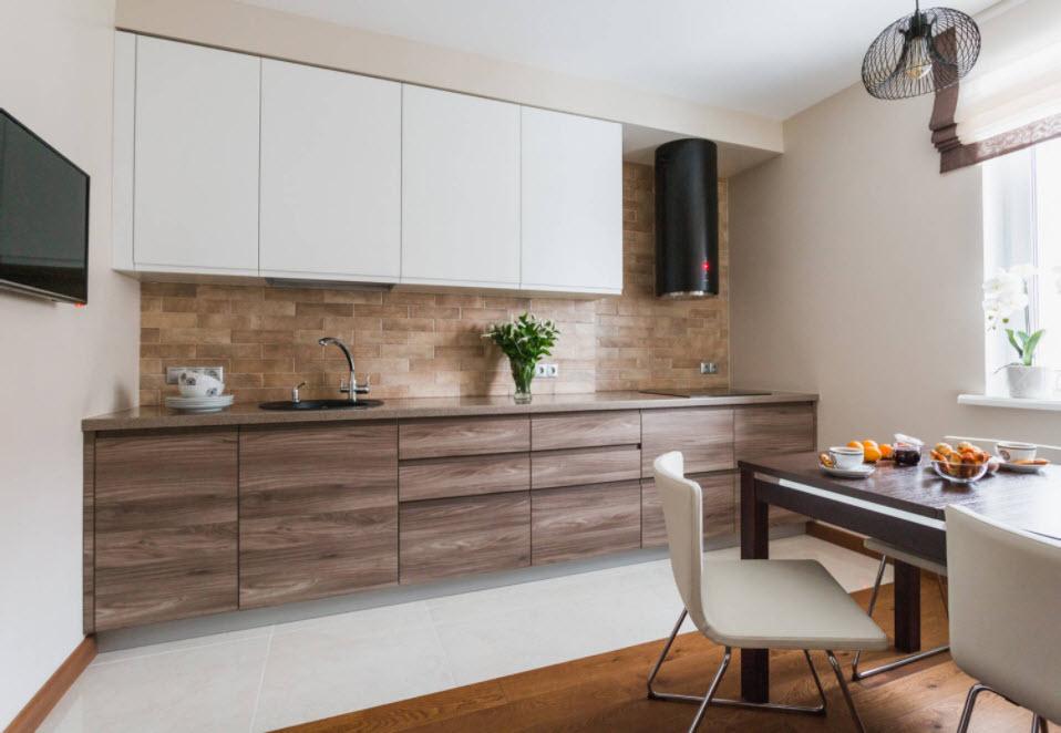 бело-коричневая кухня-студия