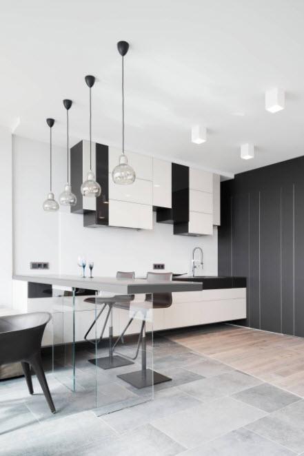 бело-черная кухня