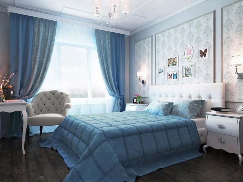 голубые обои в спальню