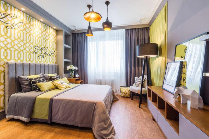 желто-белая спальня