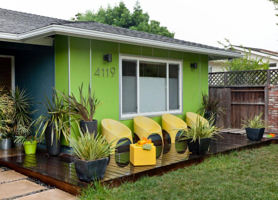 зеленый каркасный дом