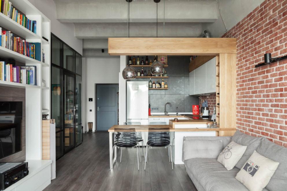 кухня-студия в маленькой квартире