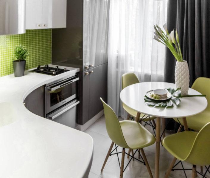 Дизайн зеленой кухни в хрущевке