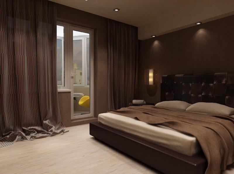оригинальная коричневая спальня