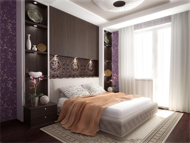 спальня с фиолетовыми вставками